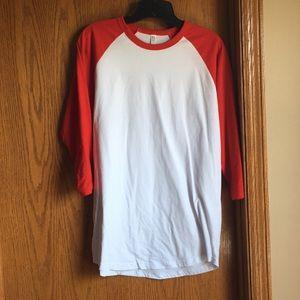 Red & White 3/4 Sleeve Baseball T